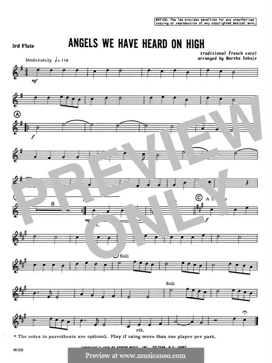 Angels We Have Heard on High: For quartet flutes – 3rd C Flute part by folklore