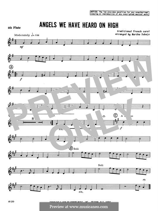 Angels We Have Heard on High: For quartet flutes – 4th Flute part by folklore