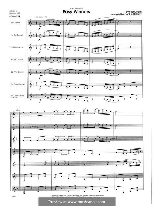 Easy Winners: For clarinets – full score by Scott Joplin