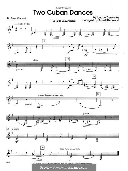 Zwei kubanische Tänze: For clarinets - Bb Bass Clarinet part by Ignacio Cervantes