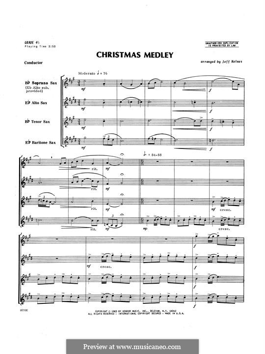 Christmas Medley, for saxophones: Vollpartitur by folklore