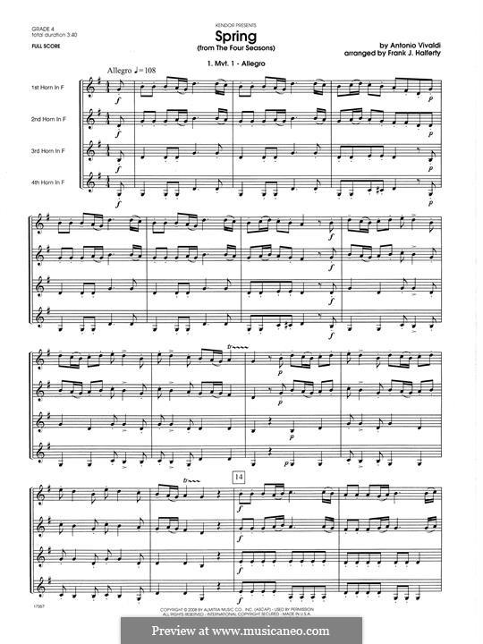 Violin Concerto No.1 in E Major 'La primavera' (Printable Scores): Movement 1 Allegro, for horn quartet – full score by Antonio Vivaldi