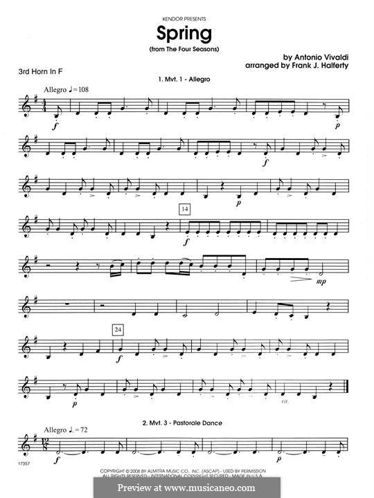 Violin Concerto No.1 in E Major 'La primavera' (Printable Scores): Movement 1 Allegro, for horn quartet – 3rd Horn in F part by Antonio Vivaldi