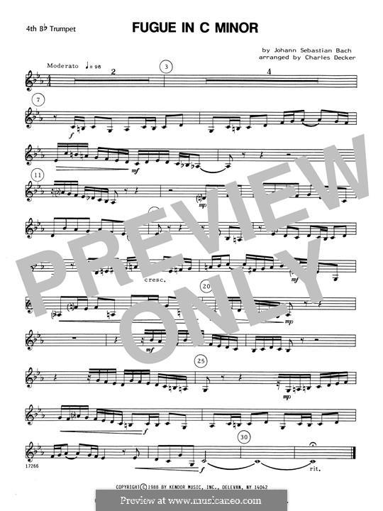 Präludium und Fuge Nr.2 in c-Moll, BWV 847: For quartet trumpets – 4th Bb Trumpet by Johann Sebastian Bach