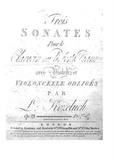 Drei Sonaten für Cembalo (oder Klavier), Violine und Cello, Op.21: Cembalo- oder Klavierstimme by Leopold Kozeluch