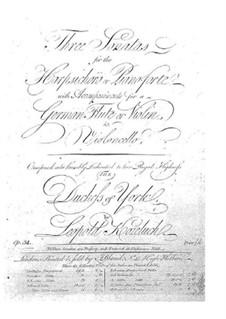 Drei Sonaten für Cembalo (oder Klavier), Flöte (oder Violine) und Cello, Op.34: Cembalo- oder Klavierstimme by Leopold Kozeluch