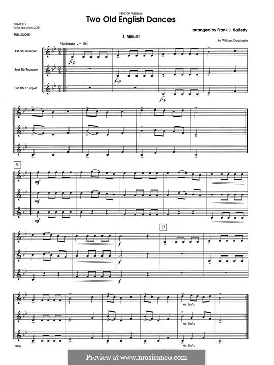 Two Old English Dances: For three trumpets – full score by folklore, William Duncombe