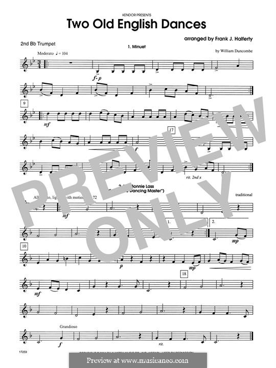 Two Old English Dances: For three trumpets – 2nd Bb Trumpet part by folklore, William Duncombe