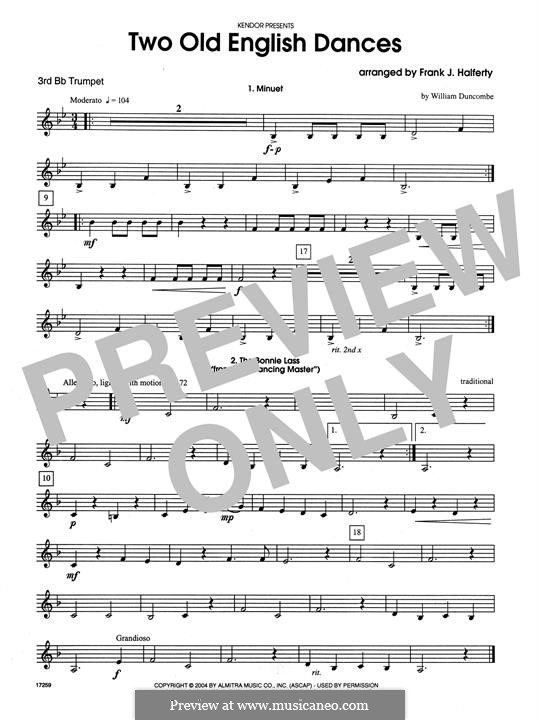 Two Old English Dances: For three trumpets – 3rd Bb Trumpet part by folklore, William Duncombe