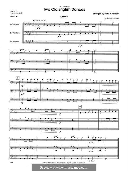 Two Old English Dances: For three trombones – full score by folklore, William Duncombe
