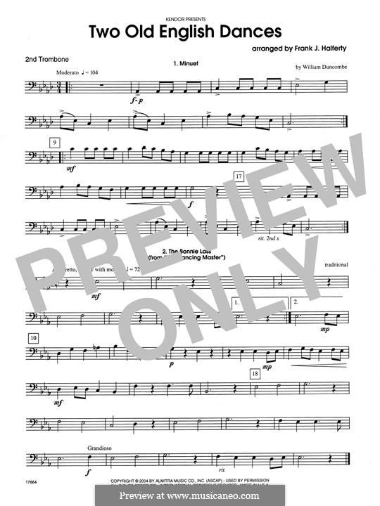 Two Old English Dances: For three trombones – 2nd Trombone part by folklore, William Duncombe