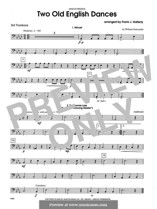 Two Old English Dances: For three trombones – 3rd Trombone part by folklore, William Duncombe
