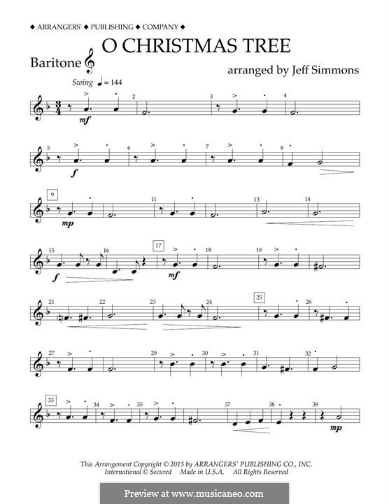 O Christmas Tree (O Tannenbaum), for Orchestra (arr. Jeff Simmons): Baritone T.C. part by folklore