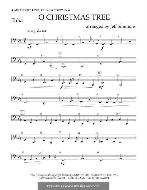 O Christmas Tree (O Tannenbaum), for Orchestra (arr. Jeff Simmons): Tubastimme by folklore