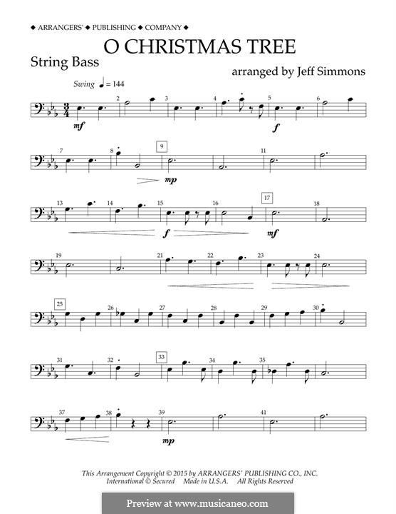 O Christmas Tree (O Tannenbaum), for Orchestra (arr. Jeff Simmons): String Bass part by folklore