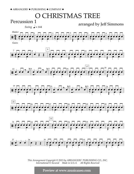 O Christmas Tree (O Tannenbaum), for Orchestra (arr. Jeff Simmons): Percussion 1 part by folklore