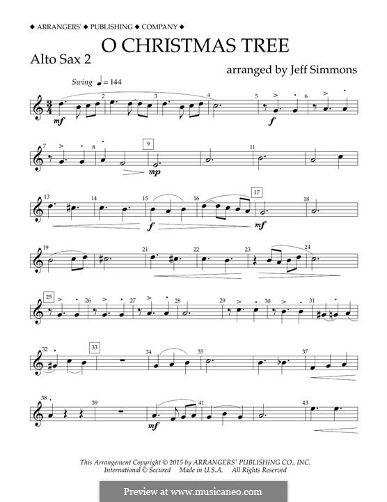 O Christmas Tree (O Tannenbaum), for Orchestra (arr. Jeff Simmons): Eb Alto Saxophone 2 part by folklore
