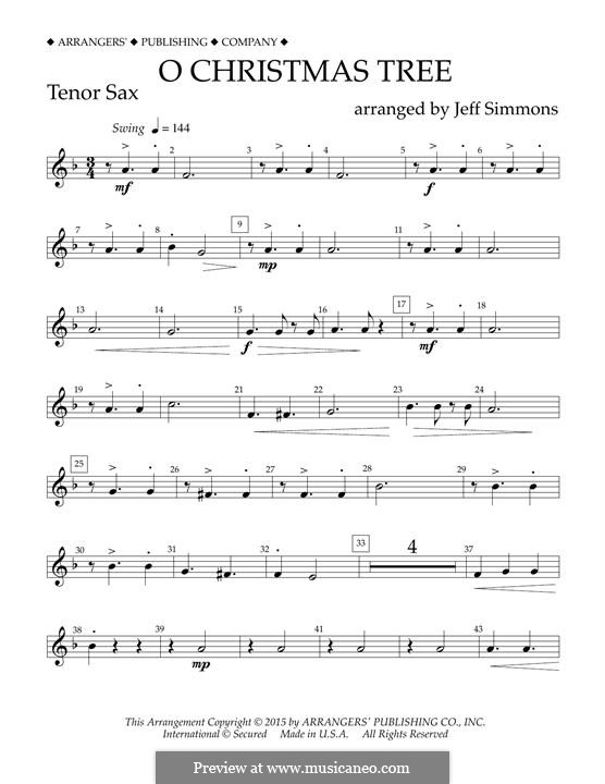 O Christmas Tree (O Tannenbaum), for Orchestra (arr. Jeff Simmons): Bb Tenor Saxophone part by folklore