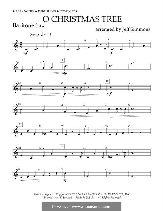 O Christmas Tree (O Tannenbaum), for Orchestra (arr. Jeff Simmons): Eb Baritone Saxophone part by folklore