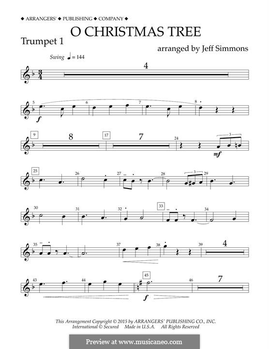 O Christmas Tree (O Tannenbaum), for Orchestra (arr. Jeff Simmons): Bb Trumpet 1 part by folklore