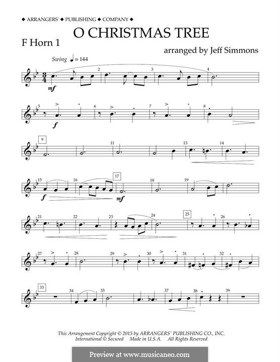 O Christmas Tree (O Tannenbaum), for Orchestra (arr. Jeff Simmons): F Horn 1 part by folklore