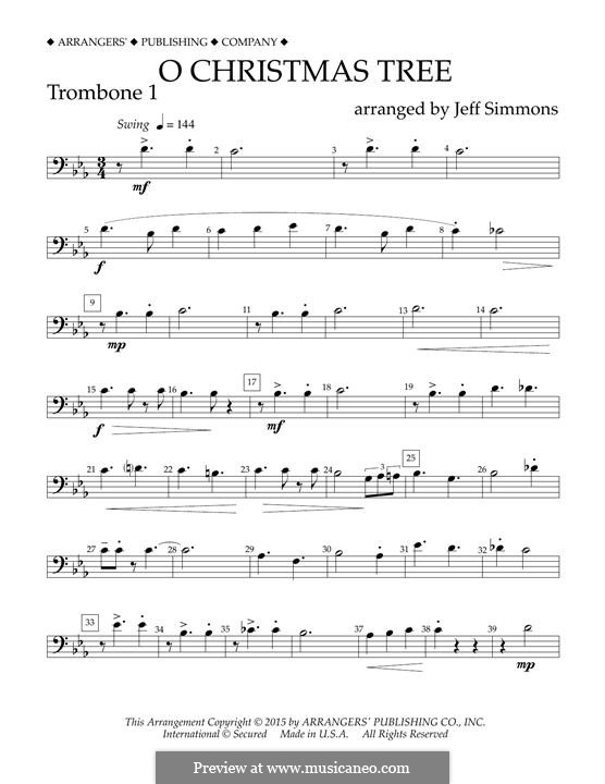 O Christmas Tree (O Tannenbaum), for Orchestra (arr. Jeff Simmons): Trombone 1 part by folklore
