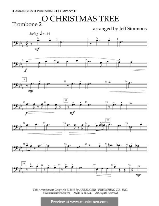 O Christmas Tree (O Tannenbaum), for Orchestra (arr. Jeff Simmons): Trombone 2 part by folklore
