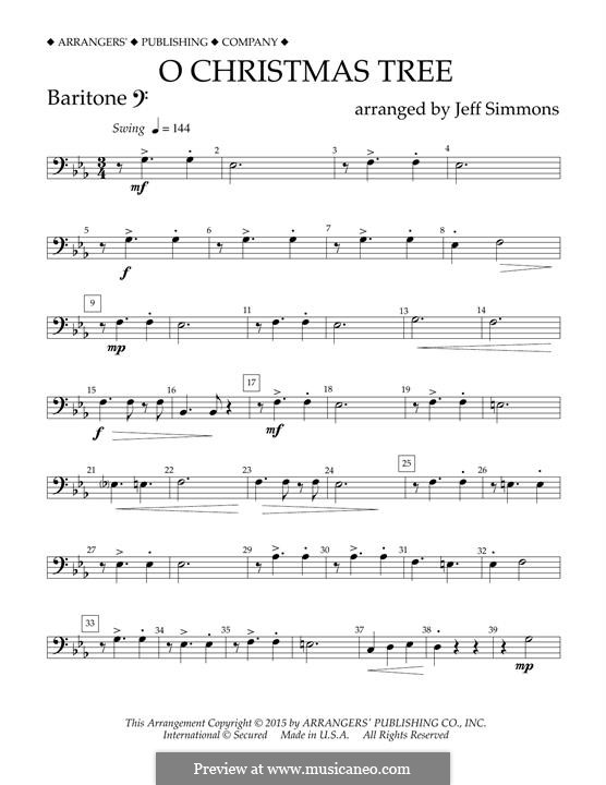 O Christmas Tree (O Tannenbaum), for Orchestra (arr. Jeff Simmons): Baritone B.C. part by folklore