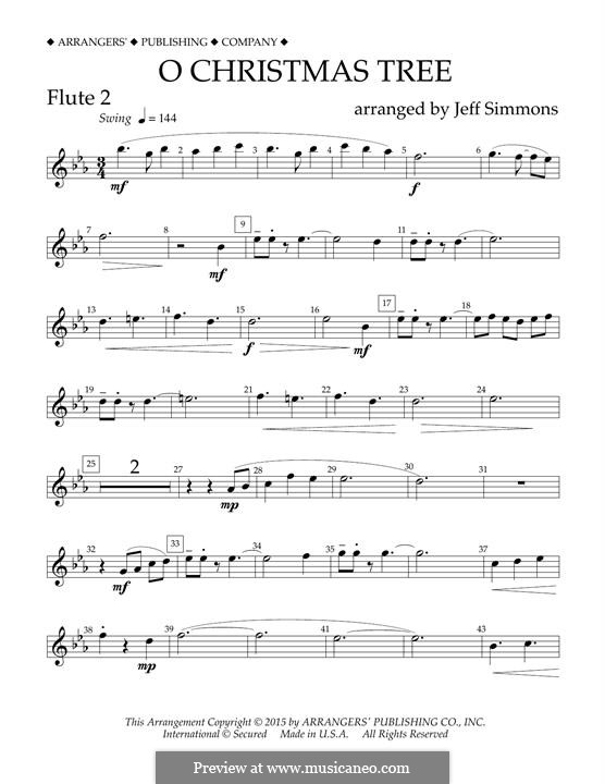 O Christmas Tree (O Tannenbaum), for Orchestra (arr. Jeff Simmons): Flute 2 part by folklore