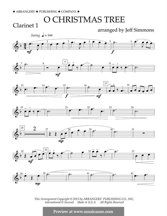 O Christmas Tree (O Tannenbaum), for Orchestra (arr. Jeff Simmons): Bb Clarinet 1 part by folklore