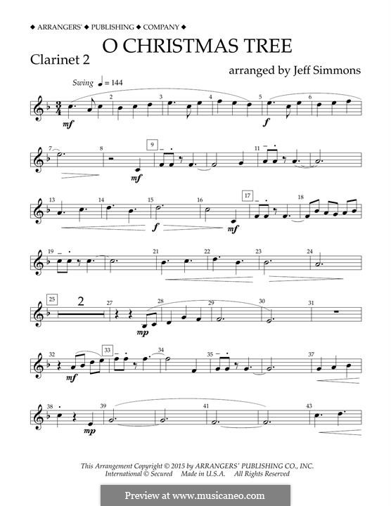 O Christmas Tree (O Tannenbaum), for Orchestra (arr. Jeff Simmons): Bb Clarinet 2 part by folklore