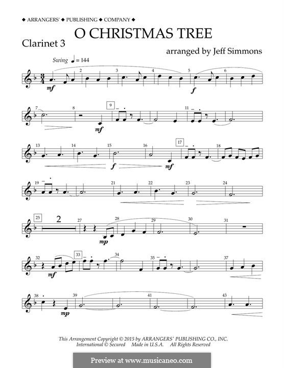 O Christmas Tree (O Tannenbaum), for Orchestra (arr. Jeff Simmons): Bb Clarinet 3 part by folklore