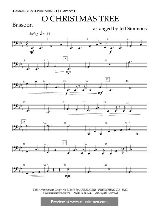 O Christmas Tree (O Tannenbaum), for Orchestra (arr. Jeff Simmons): Fagottstimme by folklore