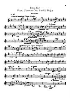 Klavierkonzert Nr.1, S.124: Klarinettenstimmen I-II by Franz Liszt
