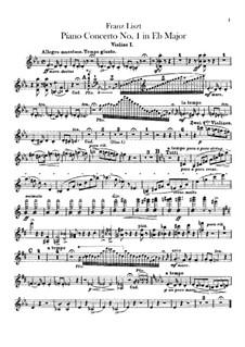 Klavierkonzert Nr.1, S.124: Violinstimmen I-II by Franz Liszt