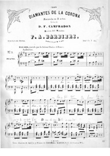 Los diamantes de la corona: En la noche callada, for voice and piano by Francisco Asenjo Barbieri