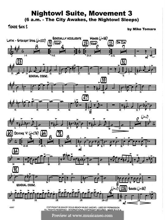 Nightowl Suite, Mvt.3: 2nd Bb Tenor Saxophone part by Mike Tomaro