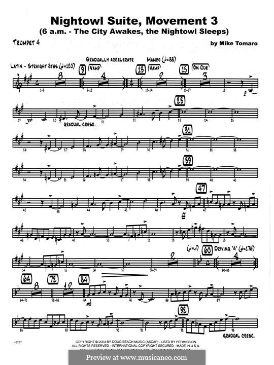 Nightowl Suite, Mvt.3: 4th Bb Trumpet part by Mike Tomaro