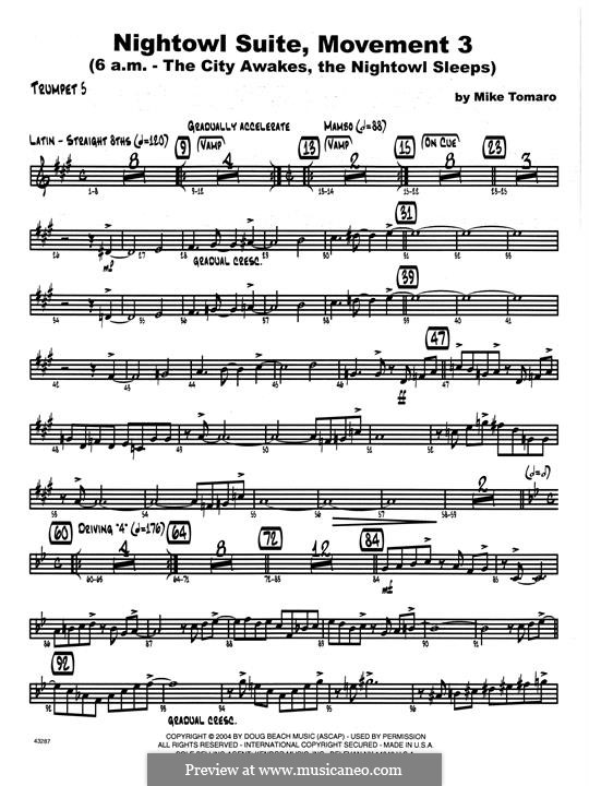 Nightowl Suite, Mvt.3: 5th Bb Trumpet part by Mike Tomaro