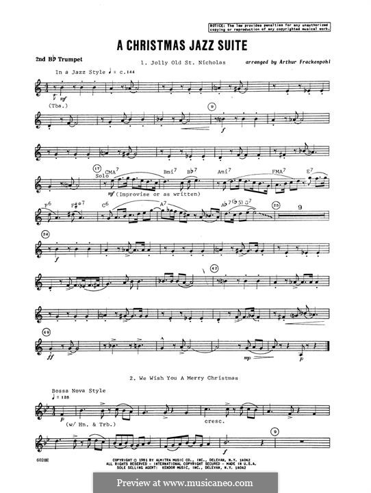 Christmas Jazz Suite: 2nd Bb Trumpet part by folklore