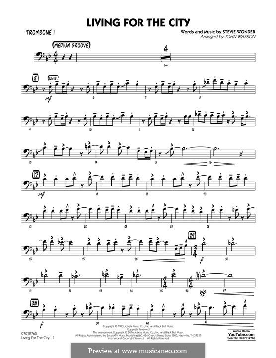 Living for the City (arr. John Wasson): Trombone 1 part by Stevie Wonder