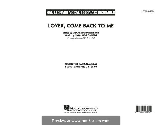 Lover Come Back to Me (Key: B-Flat): Vollpartitur by Sigmund Romberg