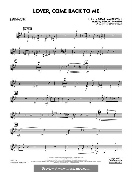 Lover Come Back to Me (Key: B-Flat): Baritone Sax part by Sigmund Romberg