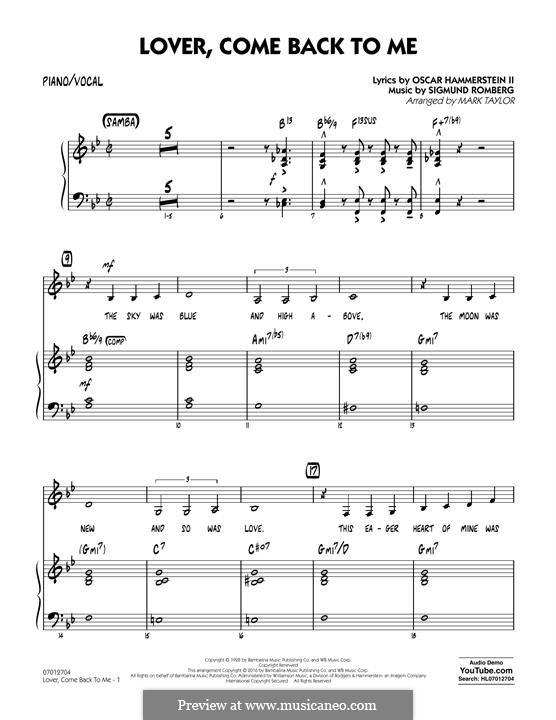 Lover Come Back to Me (Key: B-Flat): Piano/Vocal part by Sigmund Romberg