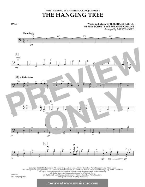 The Hanging Tree: For strings - Bass part by Jeremy Fraites, Wesley Schultz, Suzanne Collins