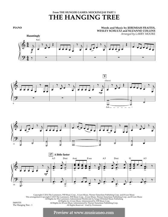 The Hanging Tree: For strings - Piano part by Jeremy Fraites, Wesley Schultz, Suzanne Collins