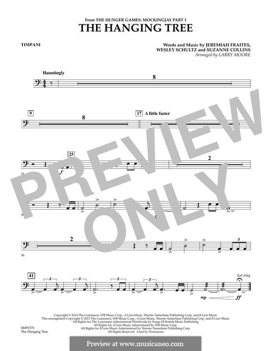 The Hanging Tree: For strings - Timpani part by Jeremy Fraites, Wesley Schultz, Suzanne Collins