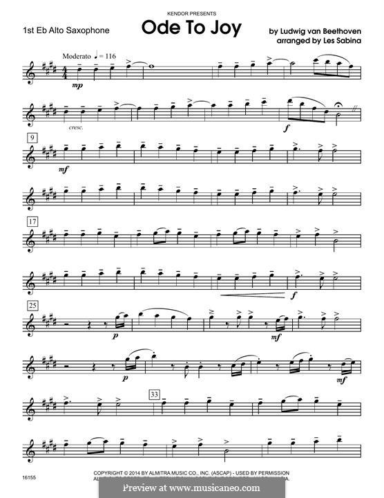 Ode To Joy (Chamber Arrangements): For quartet saxophones - 1st Eb alto saxophone part by Ludwig van Beethoven
