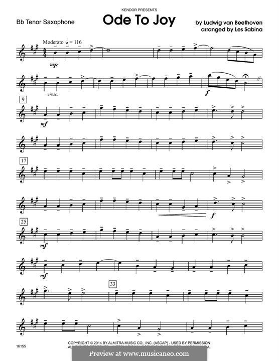 Ode To Joy (Chamber Arrangements): For quartet saxophones - Bb tenor saxophone part by Ludwig van Beethoven