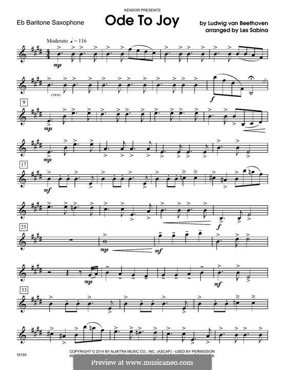 Ode To Joy (Chamber Arrangements): For quartet saxophones - Eb baritone saxophone part by Ludwig van Beethoven